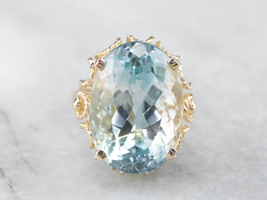 Blue Topaz Gold Cocktail Ring
