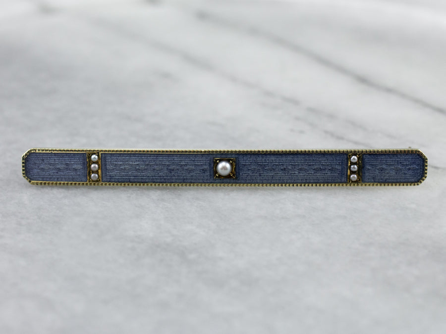 Antique Blue Guilloche Enamel Seed Pearl Bar Pin