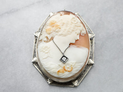 Art Deco Cameo Diamond Filigree Brooch Pendant