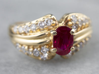 Ruby Diamond Gold Engagement Ring