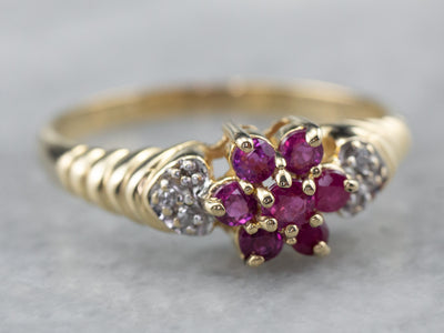 Vintage Ruby Cluster Diamond Gold Ring
