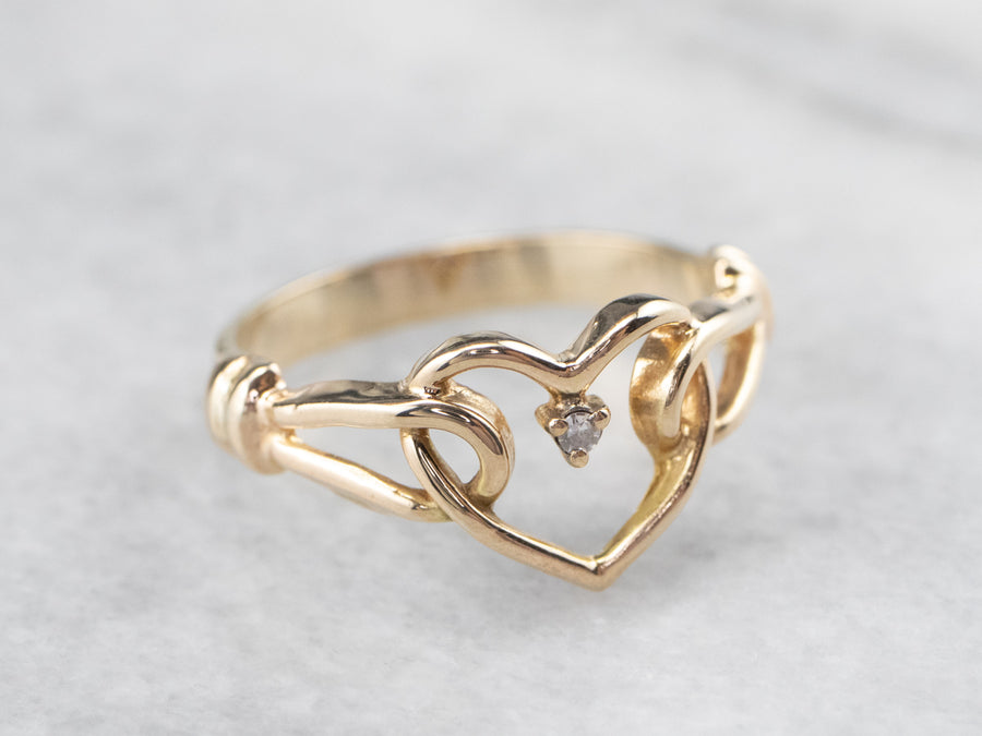 Dainty Diamond Heart Ring