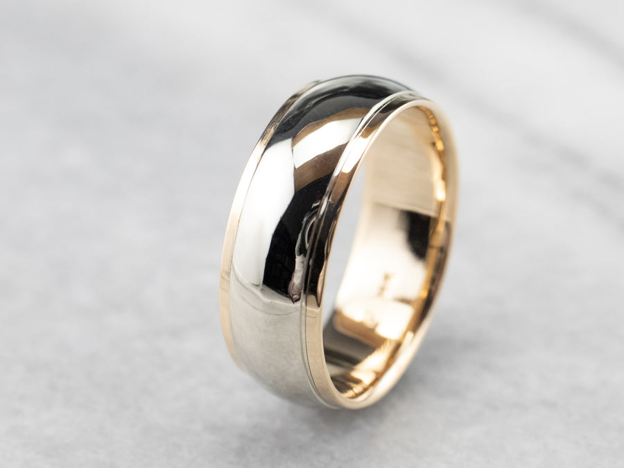 Men's Two Toned Gold Wedding Band