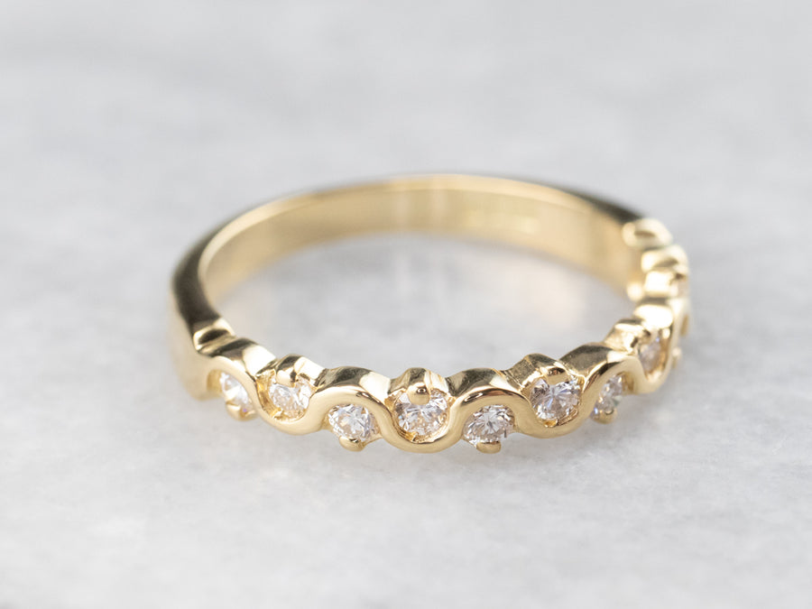 18K Gold Scrolling Diamond Band