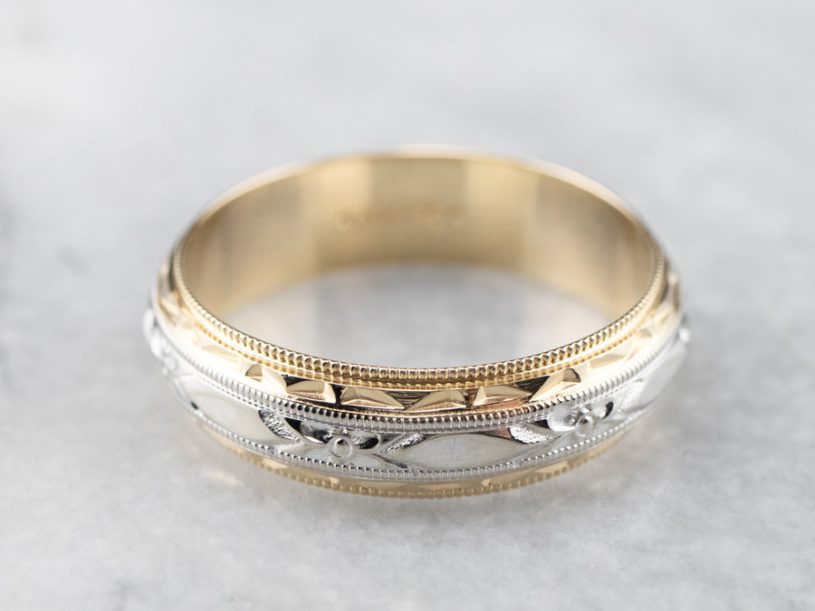 Mid-Century Two-Tone Gold Pattern Band
