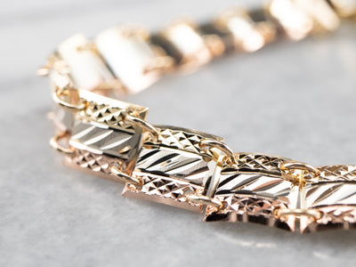 Italian Diamond Cut Tri-Tone Gold Bracelet