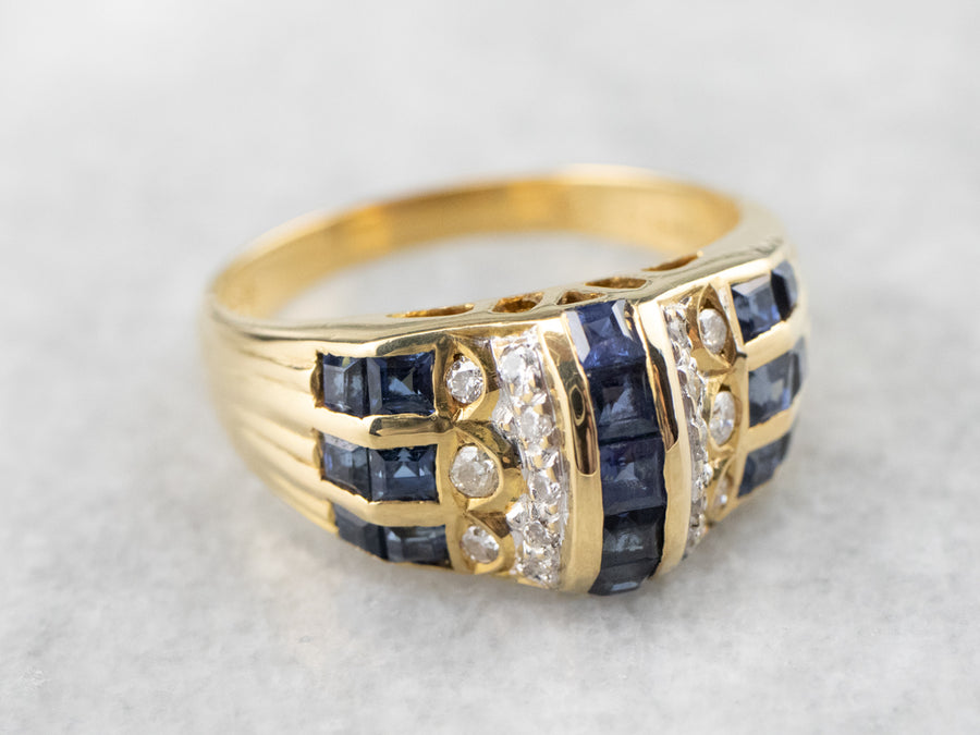 Sapphire Diamond Gold Statement Band