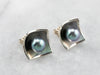 Modernist Grey Pearl White Gold Stud Earrings