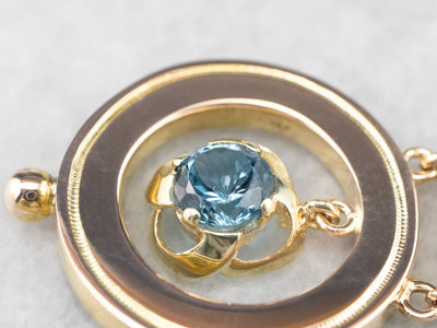 Blue Topaz Gold Statement Pendant