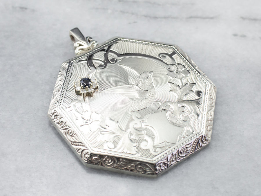 Engraved Sapphire and Diamond Sparrow Pendant
