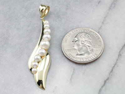 Modernist Gold Pearl Drop Pendant