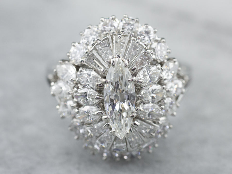 Platinum Marquise Diamond Cocktail Ring