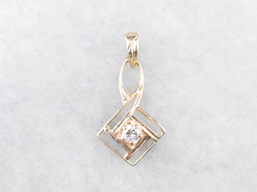 Lovely Gold and Diamond Lavalier Pendant