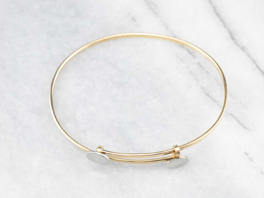 Modernist 18K Gold Bangle Bracelet