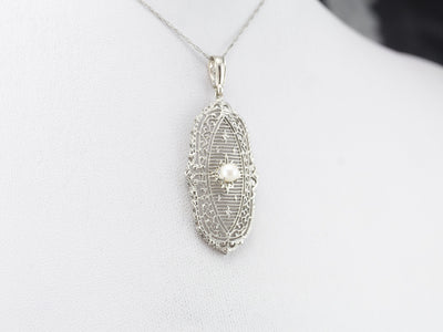Art Deco Pearl White Gold Filigree Pendant
