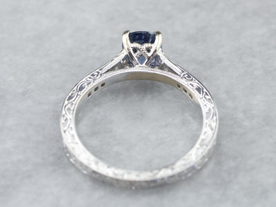 Engraved Sapphire and Diamond Ring