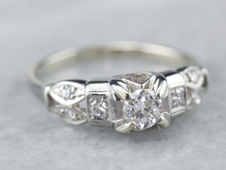 White Gold Retro Era Diamond Ring