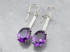 Engraved Amethyst and Diamond Drop Earrings