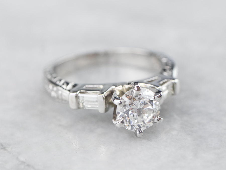 Engraved Platinum and Diamond Engagement Ring