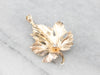 Vintage Gold Diamond Leaf Pendant