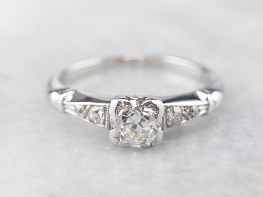 Retro Era Old Mine Cut Diamond Ring