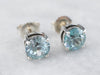 Sterling Silver Blue Zircon Stud Earrings