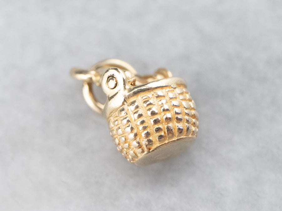 Little Gold Nantucket Basket Charm