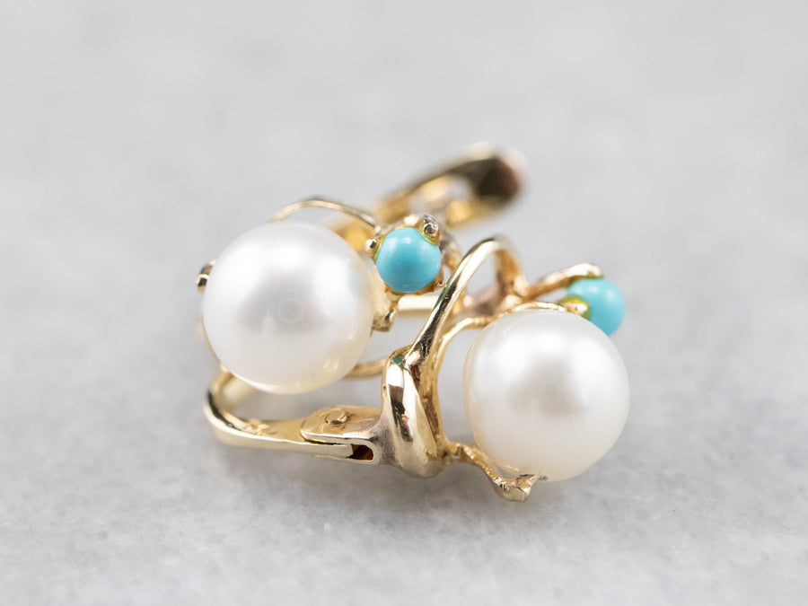 Pearl Turquoise Gold Stud Earrings