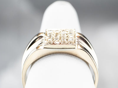 Diamond Cluster Gold Statement Band Ring
