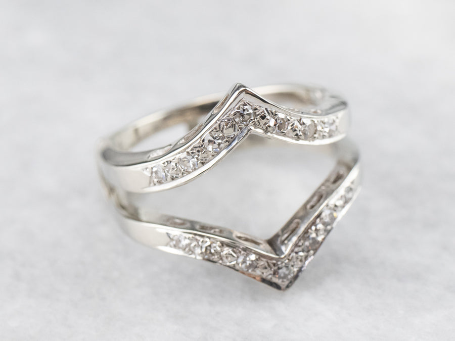 Pointed Diamond Double Band White Gold Enhancer Ring