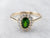 Tsavorite Garnet Diamond Halo Gold Ring