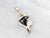 Black Onyx Diamond Gold Seashell Pendant
