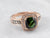 Green Tourmaline Diamond Halo Rose Gold Ring