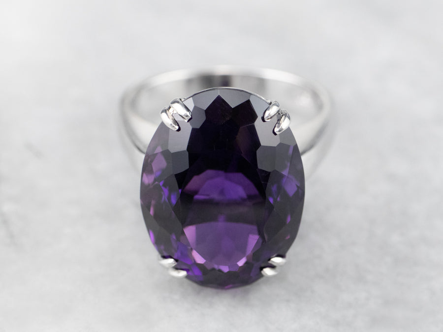 Amethyst 18K White Gold Cocktail Statement