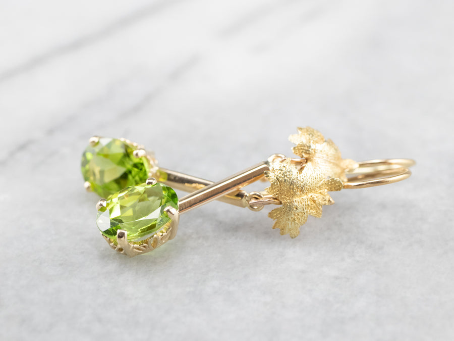 Peridot Gold Bar Leaf Drop Earrings
