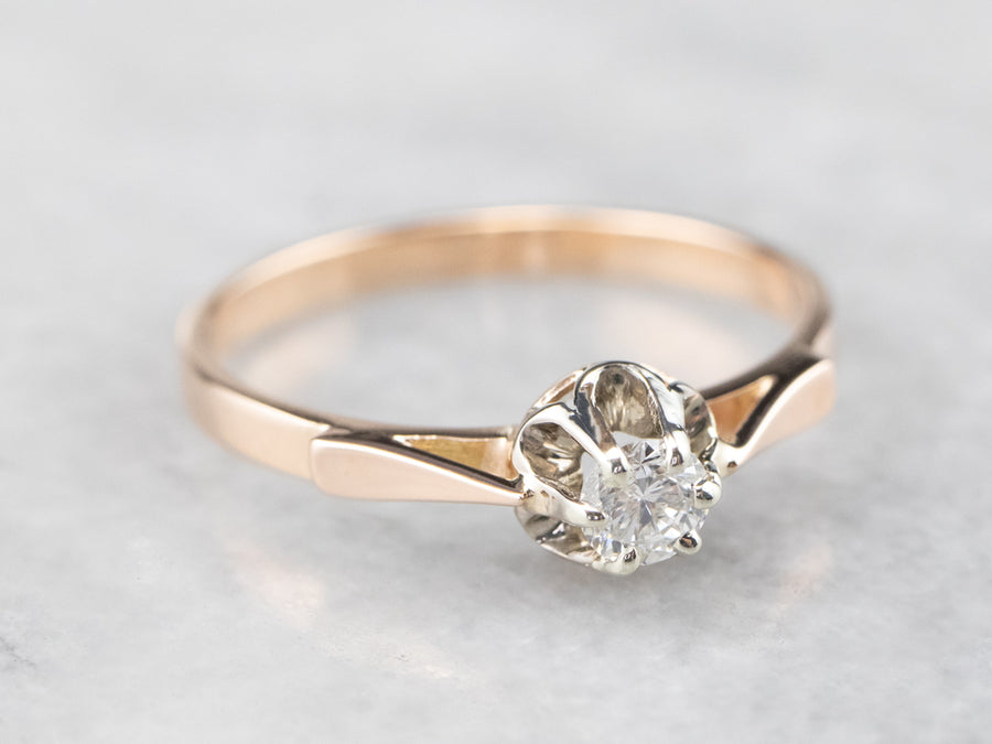 Diamond Two Tone Gold Solitaire Engagement Ring