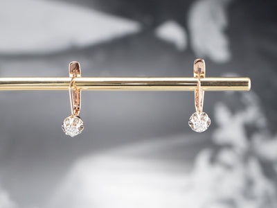 Buttercup Diamond Gold Bar Drop Earrings