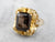 Vintage Smoky Quartz Botanical Gold Statement Ring