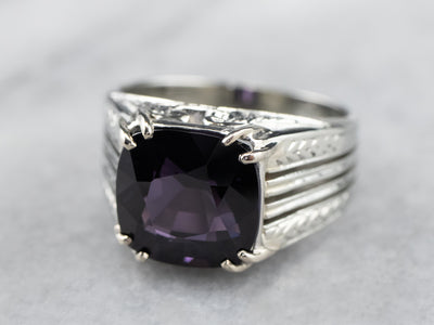 Vintage Purple Spinel White Gold Statement Ring