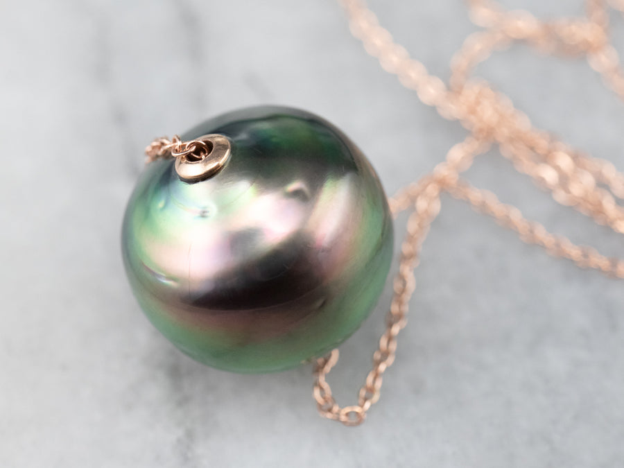 Black Pearl Pendant Rose Gold Chain Necklace