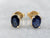 Oval Cut Sapphire Gold Stud Earrings