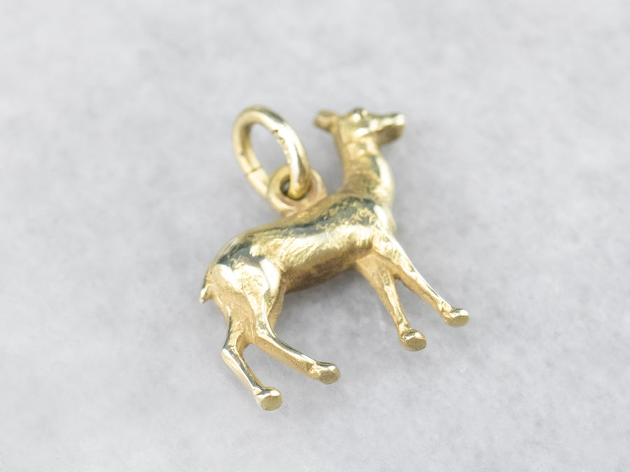 Vintage Green Gold Deer Charm