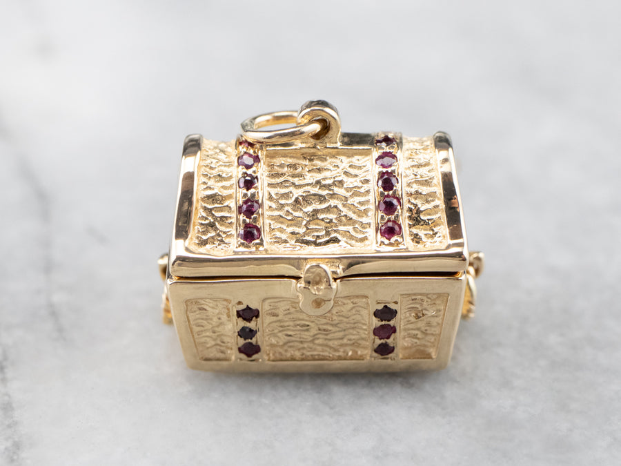 Vintage Ruby and Diamond Treasure Chest Charm