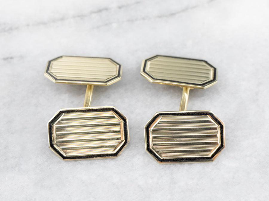Vintage Black Enamel Gold Cufflinks