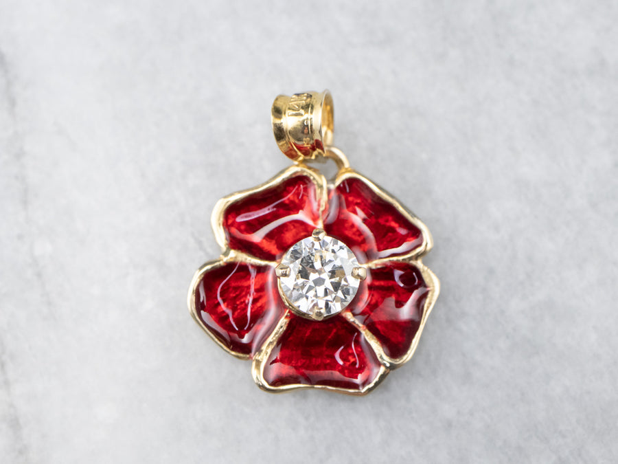 Diamond Enamel Poppy Flower Pendant