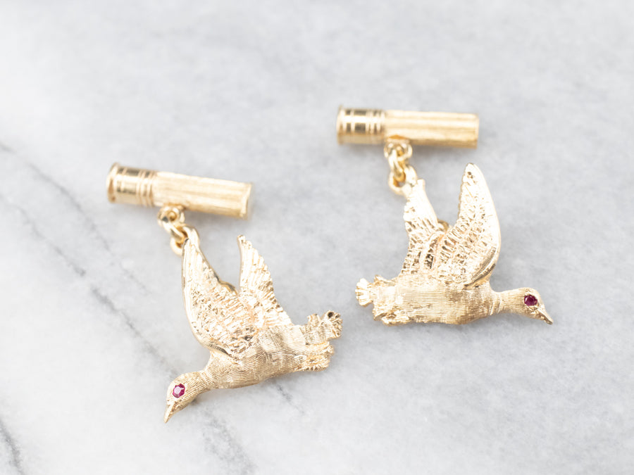 Yellow Gold and Ruby Duck Cufflinks