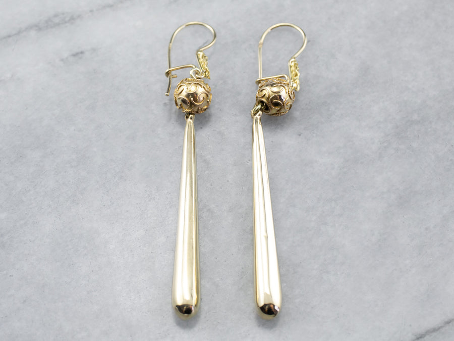 Long Teardrop Gold Earrings