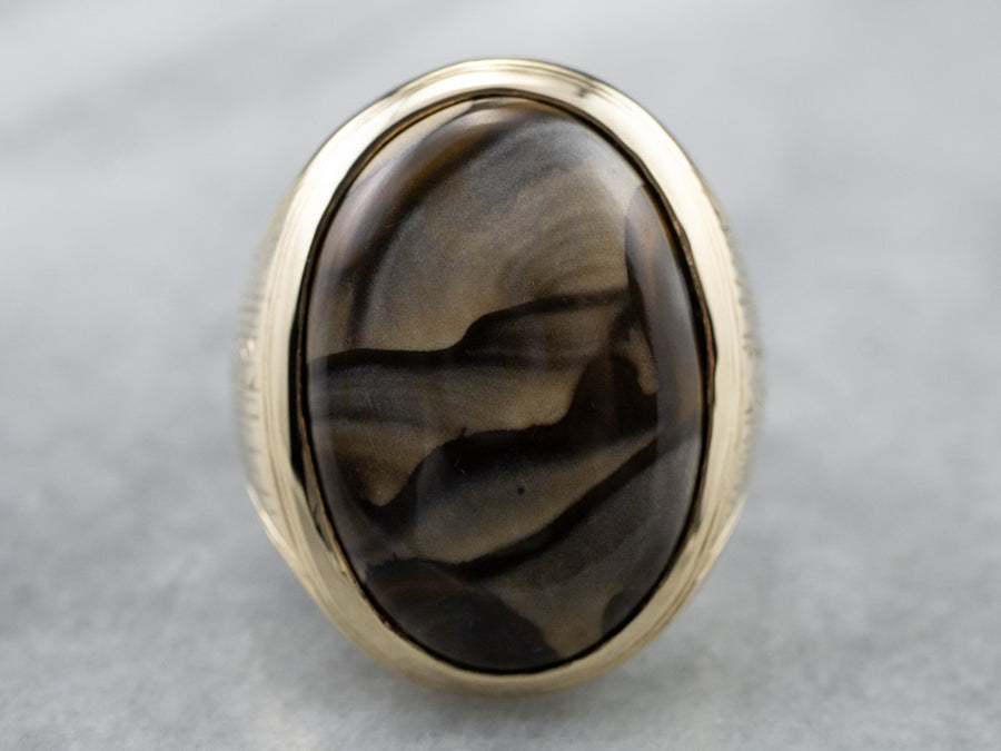 Men's Engraved Gold Jasper Ring