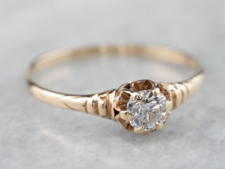 Diamond Buttercup Solitaire Engagement Ring