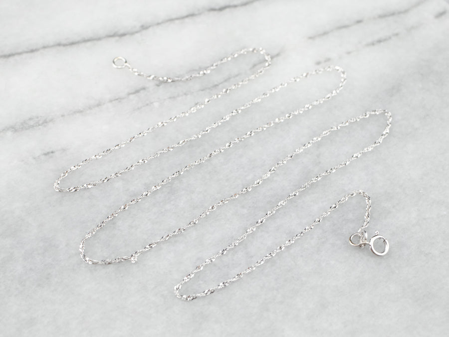 14K White Gold Sparkling Tinsel Chain Necklace